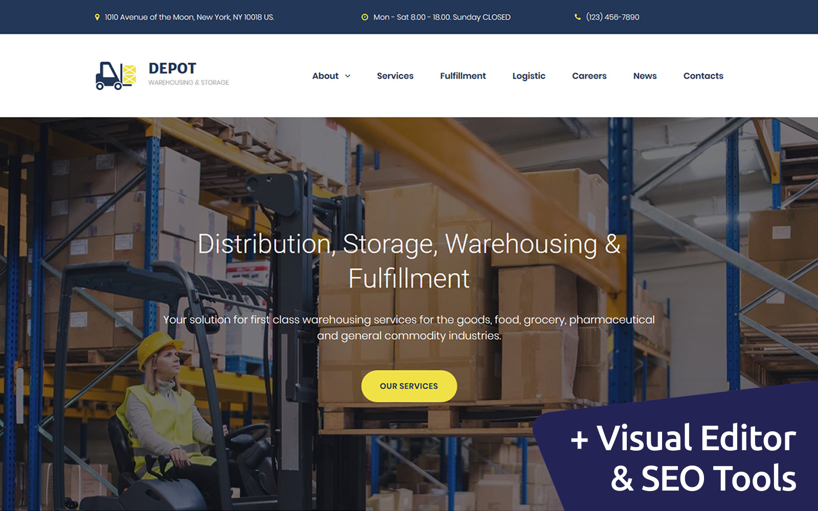 "Moto CMS 3 Template namens ""Depot - Warehouse Premium"" #68190"