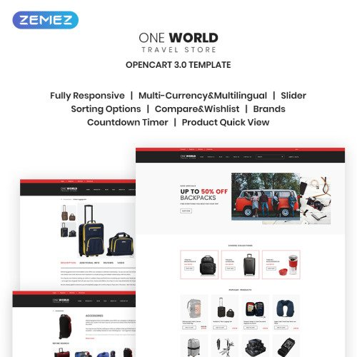 One World - Travel Store - OpenCart Template based on Bootstrap