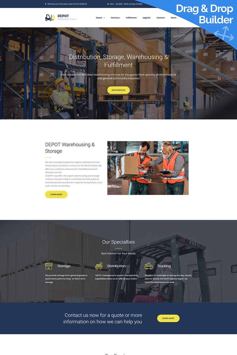 Responsywny szablon Moto CMS 3 Depot - Warehouse Premium #68190