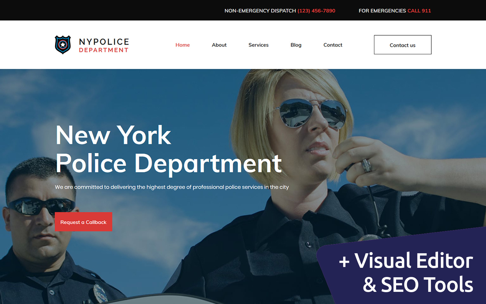 "Responzivní Moto CMS 3 šablona ""Police Department Premium"" #68189"