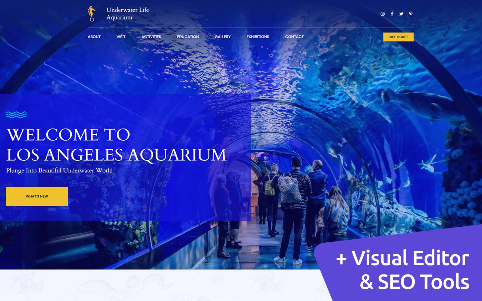 """Responzivní Moto CMS 3 šablona """"Public Aquarium Premium"""" #68192"""