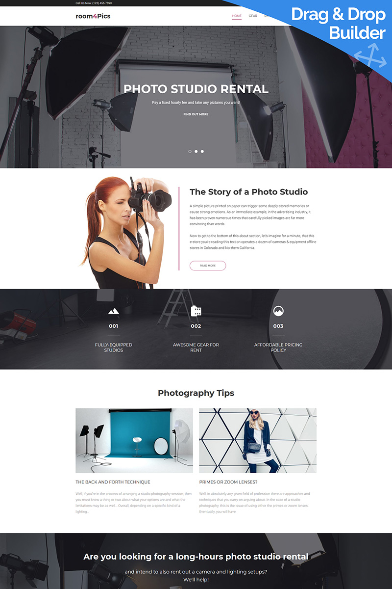 Room4Pics - Photo Studio Moto CMS 3 Template