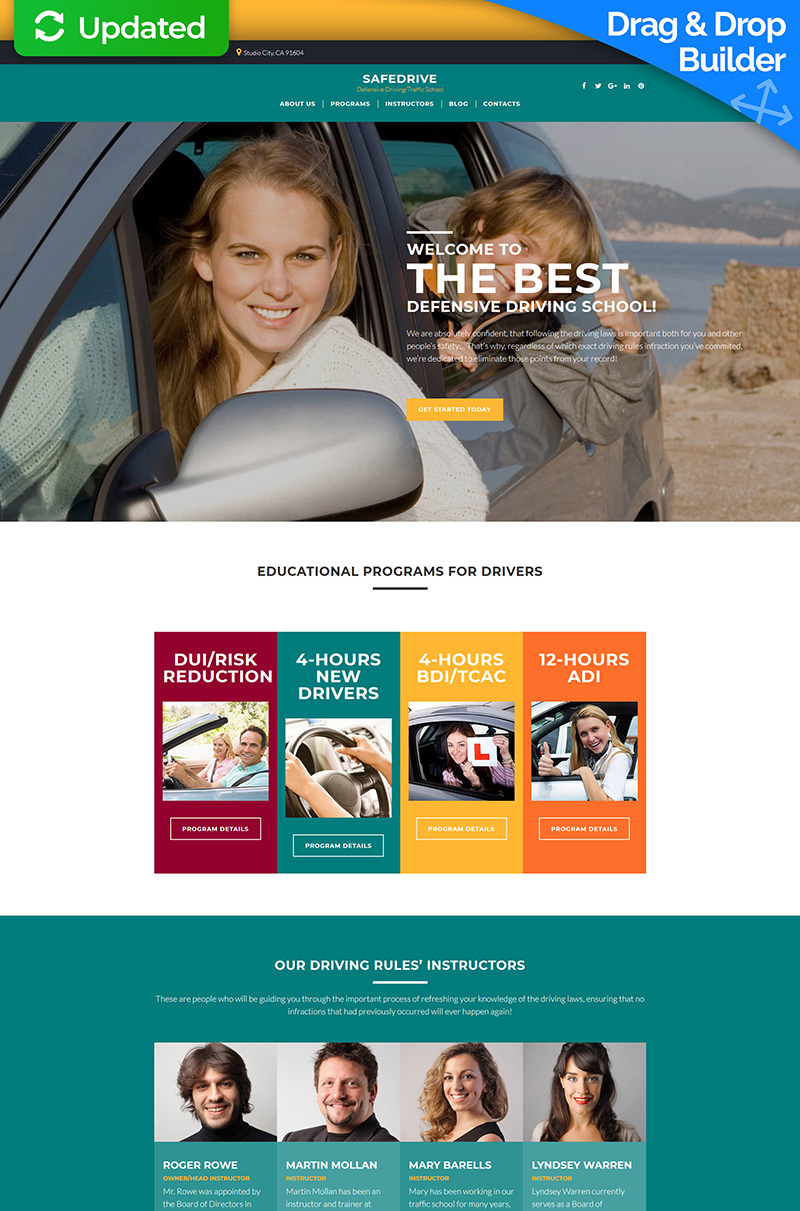 """SafeDrive - Driving School"" Responsive Moto CMS 3 Template №68167"