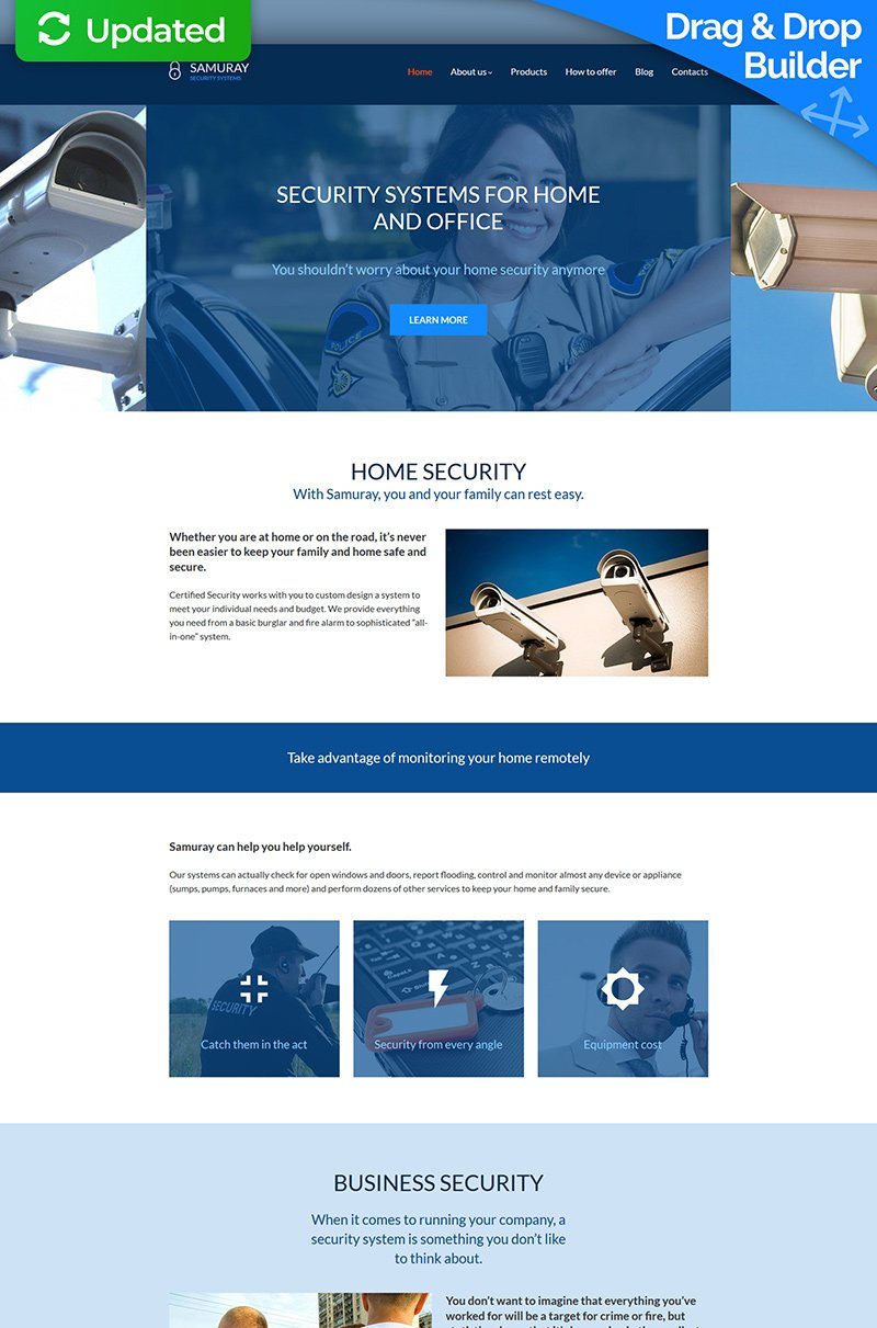 """Samuray - Security System"" Responsive Moto CMS 3 Template №68163"