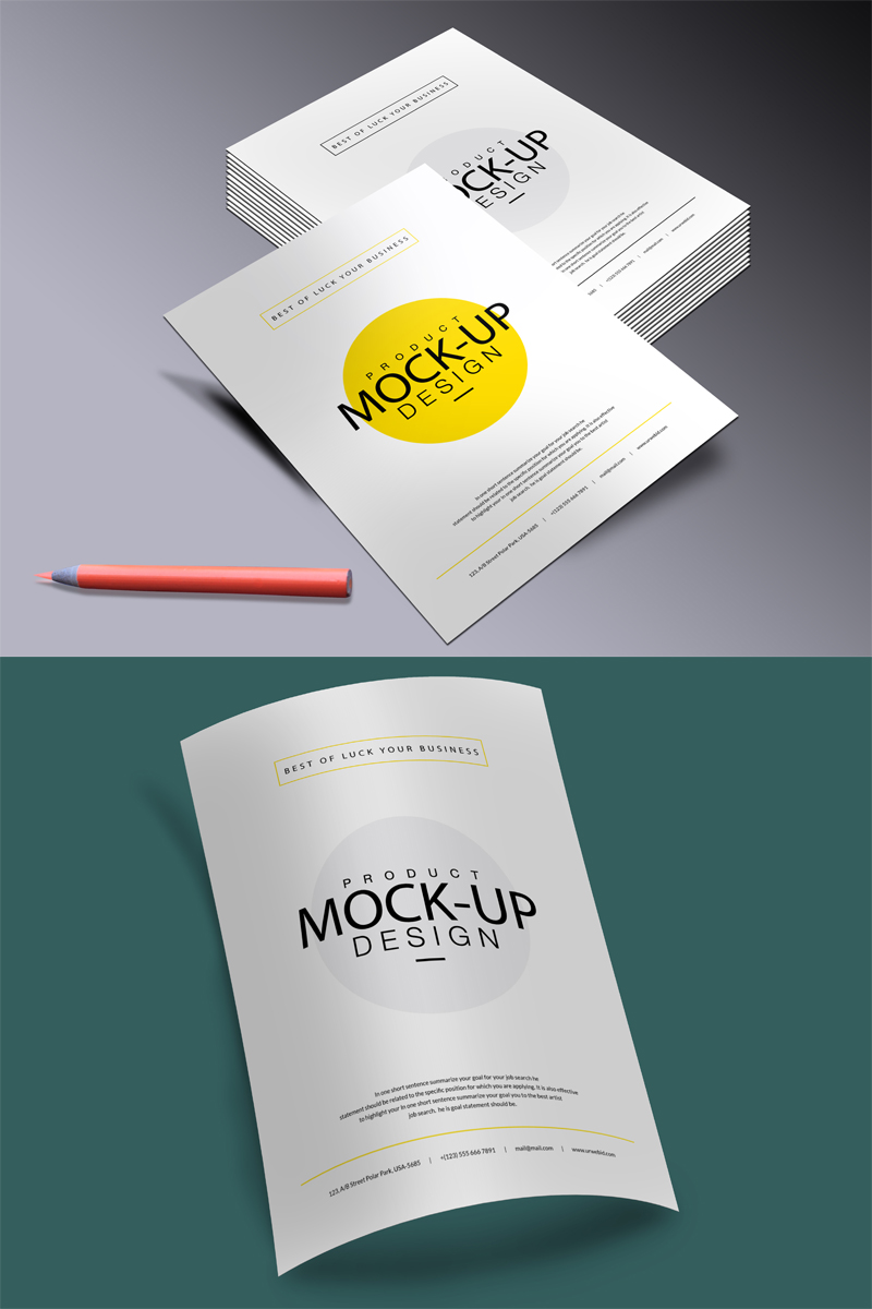 "Tema Mockup del prodotto #68139 ""A4 Business Flyer Mock-up"" - screenshot"