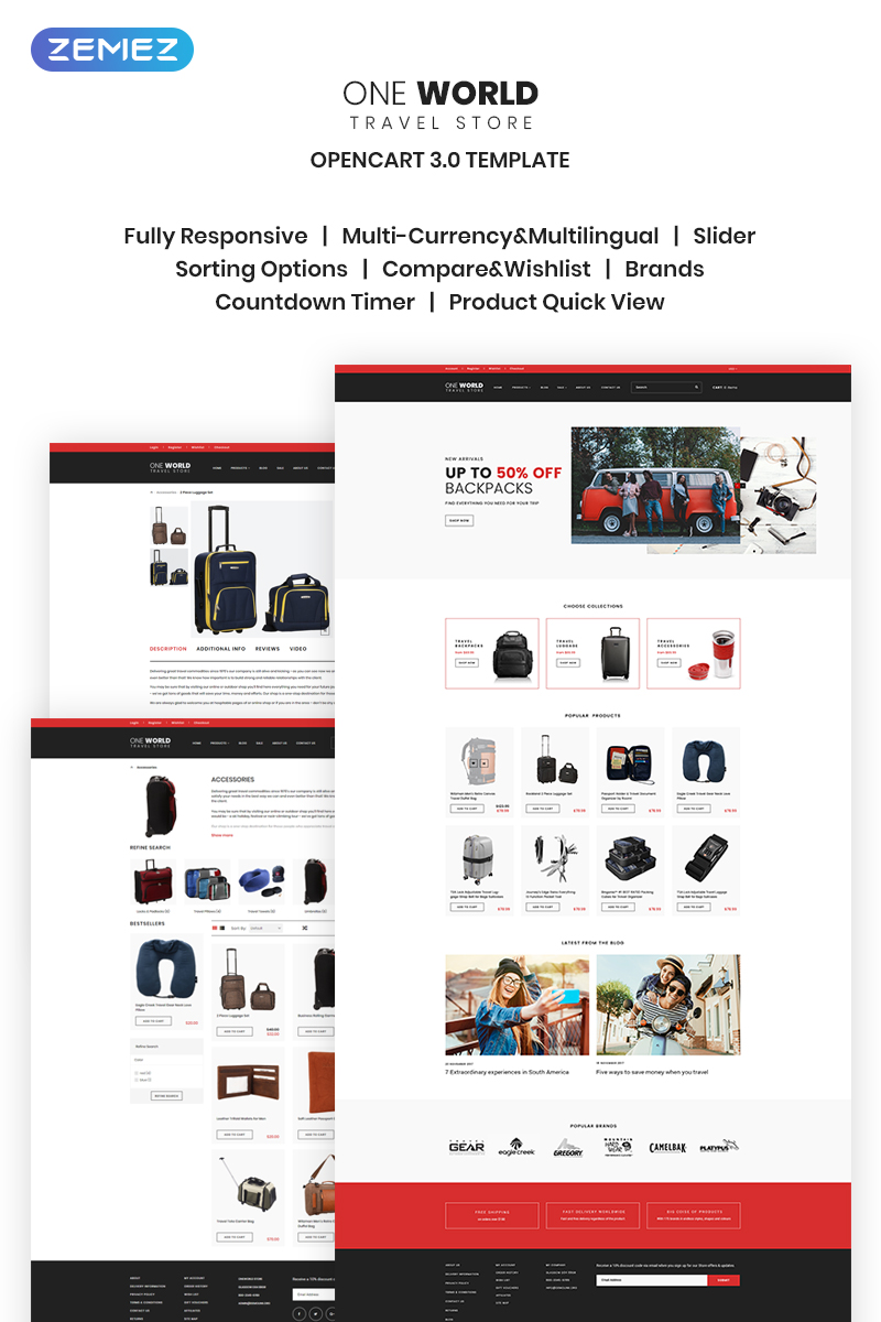"""Template OpenCart Responsive #68116 """"One World - Travel Store"""""""