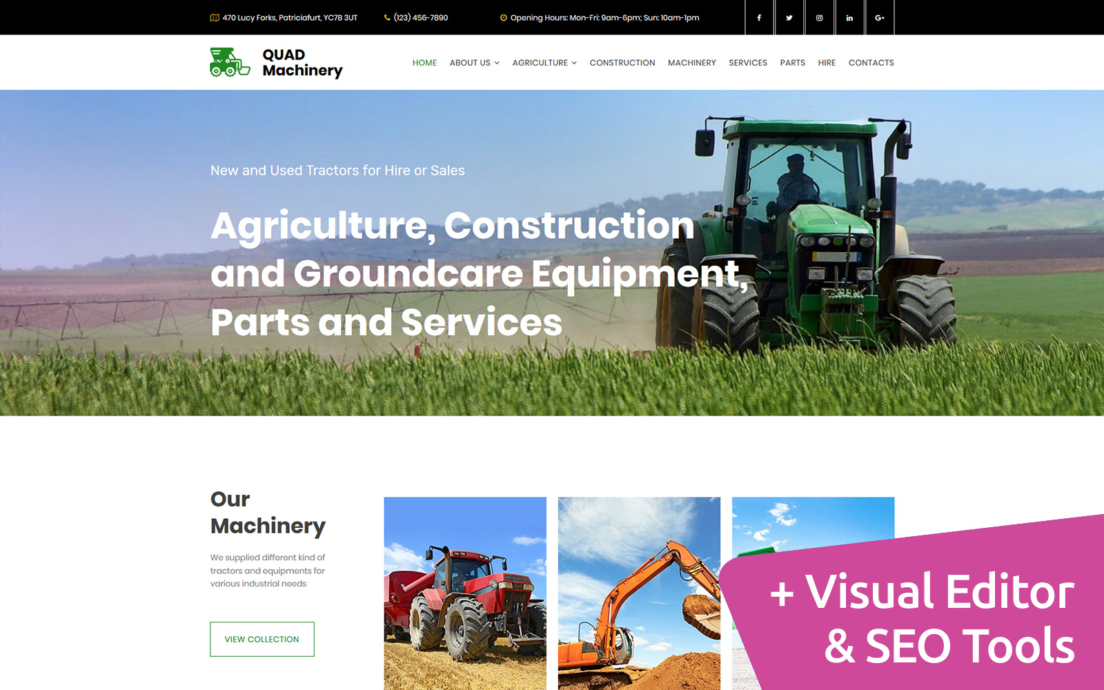 """Tractor Machinery Premium"" Responsive Moto CMS 3 Template №68198"