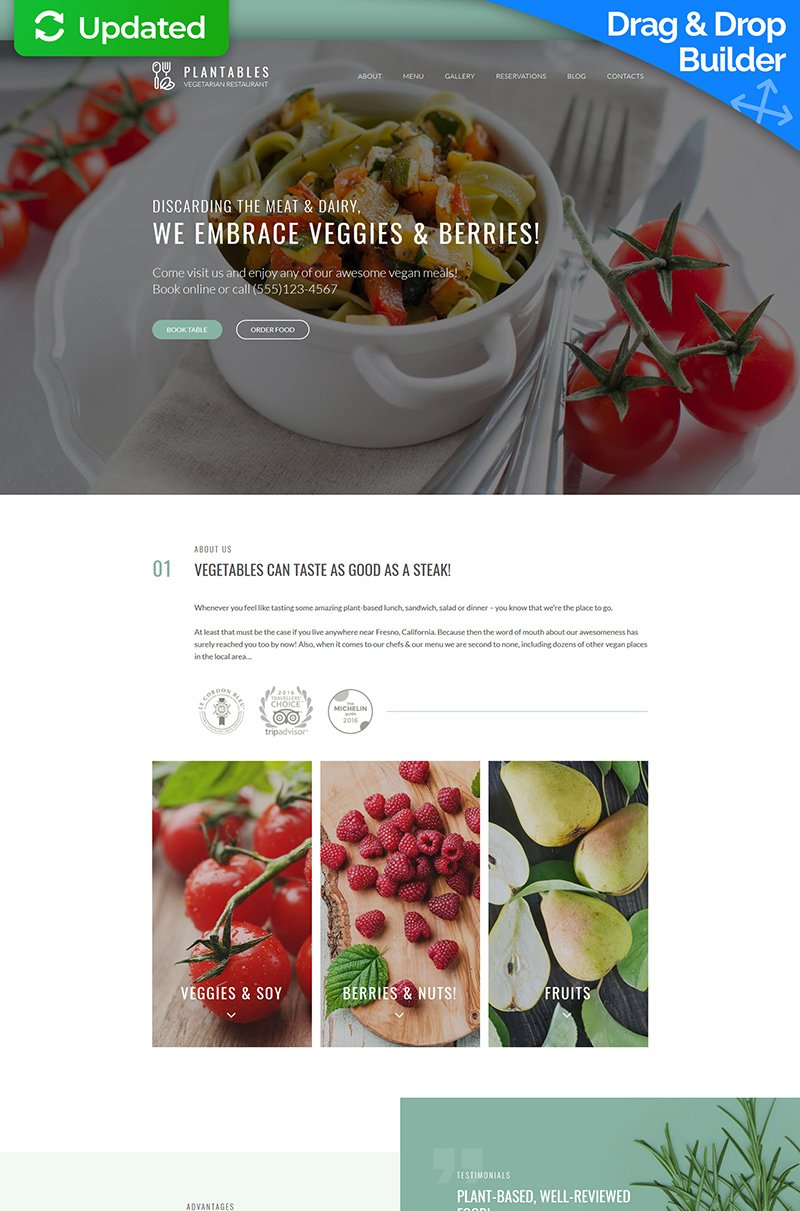Vegetarian Restaurant Moto CMS 3 Template