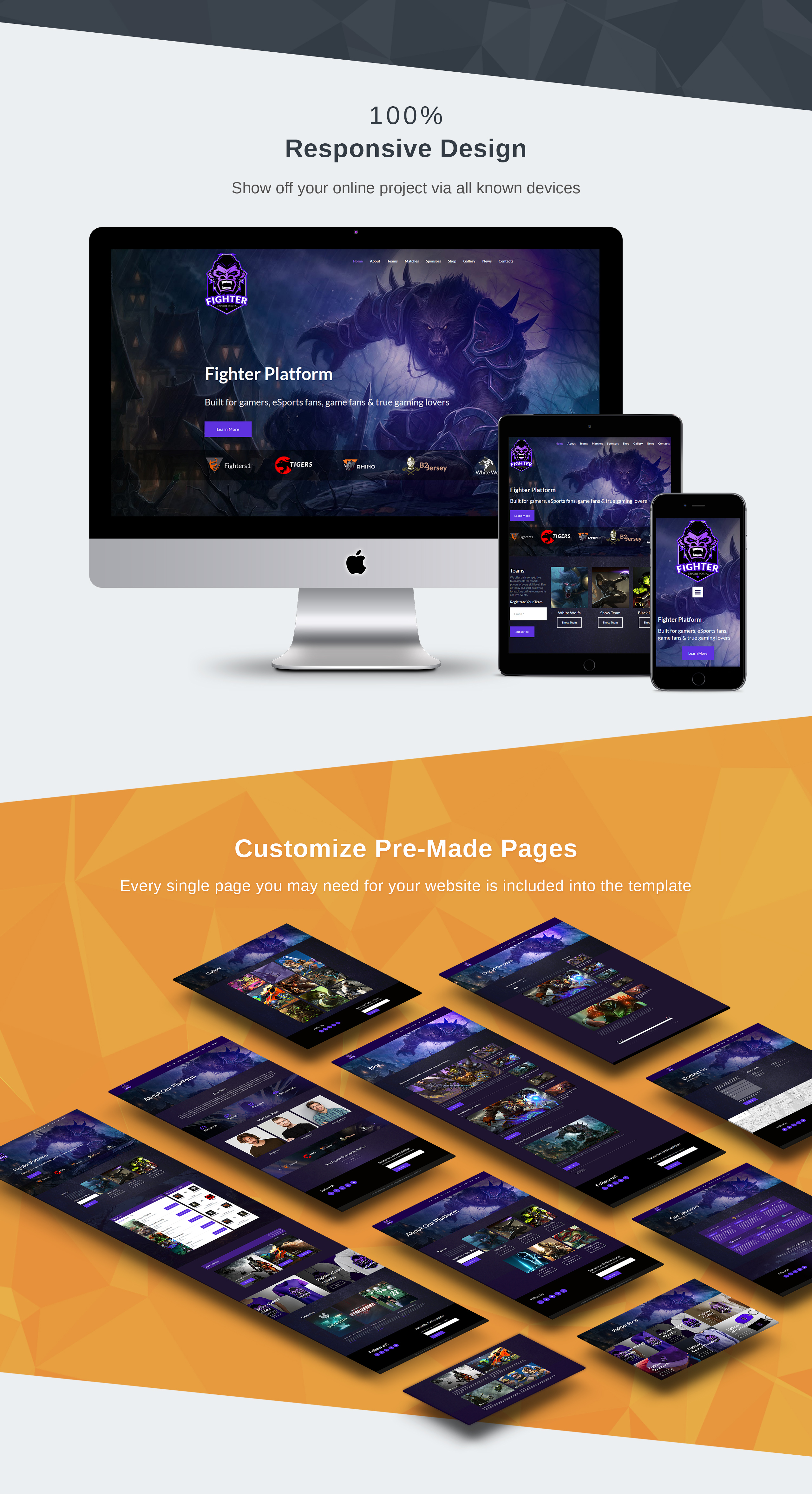Online Gaming Tournaments Moto CMS 3 Template