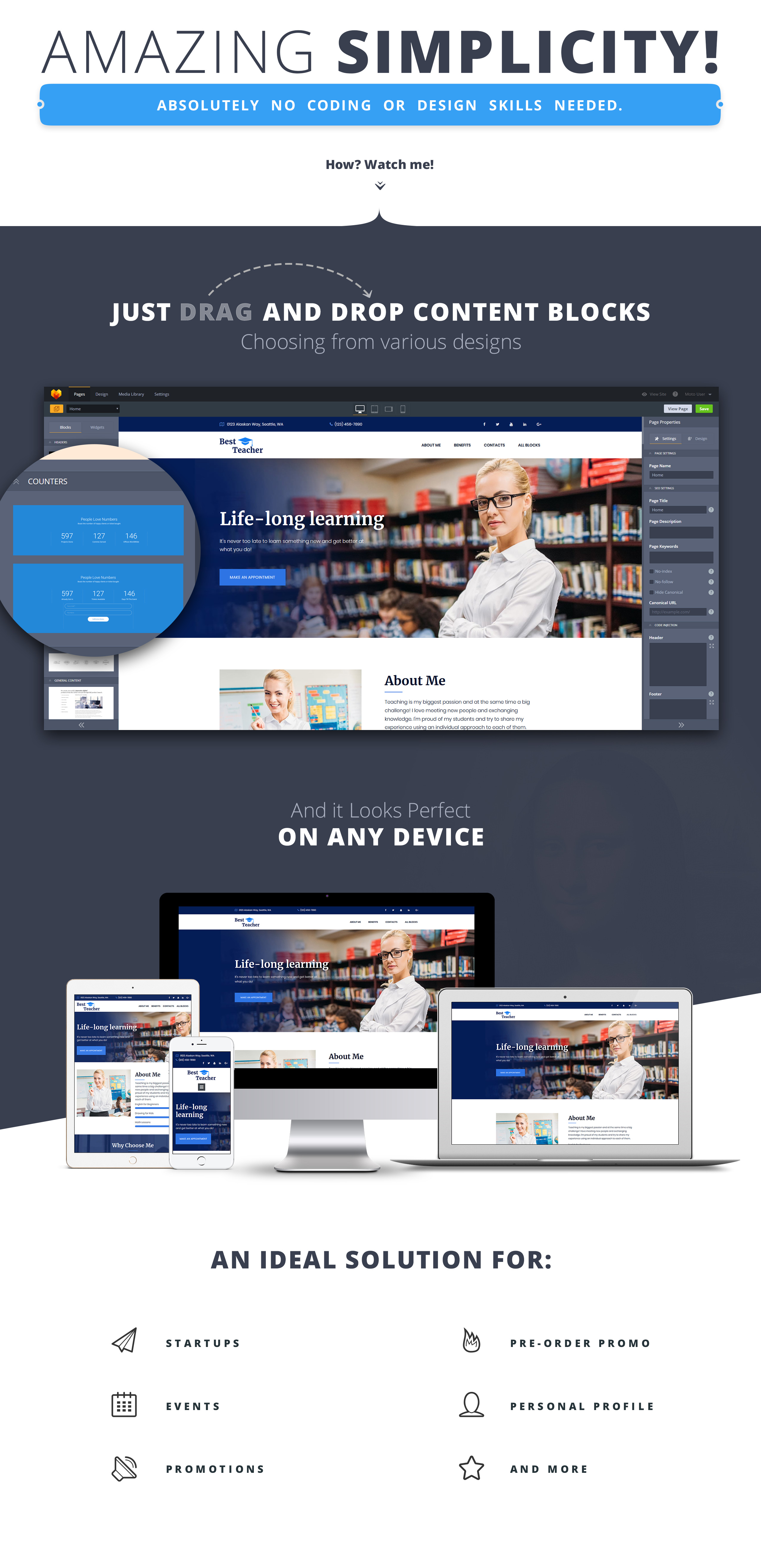Plantilla web landing-page ideal para Educación - Ahora por menos de ...