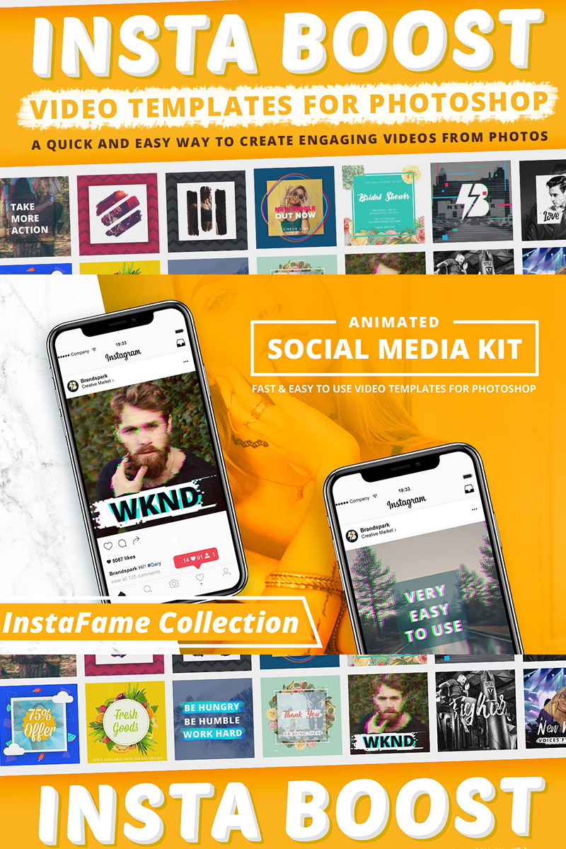 Animated - Instagram Video Templates for Photoshop Social Media 68280