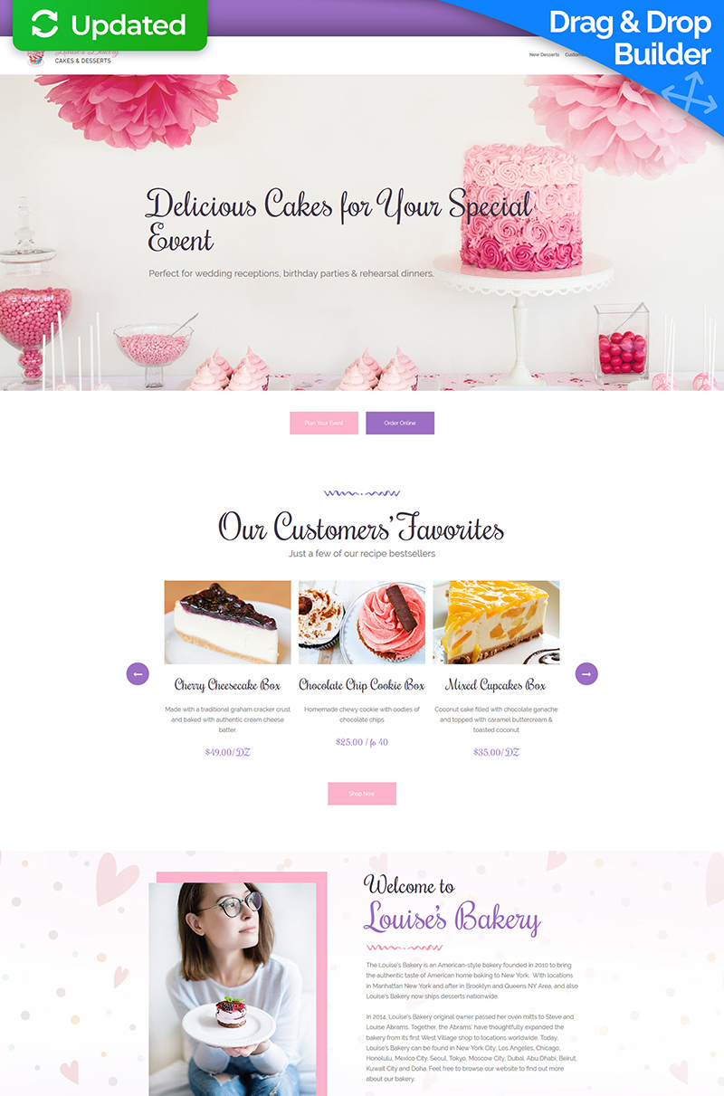 Bakery MotoCMS 3 Landing Page Template