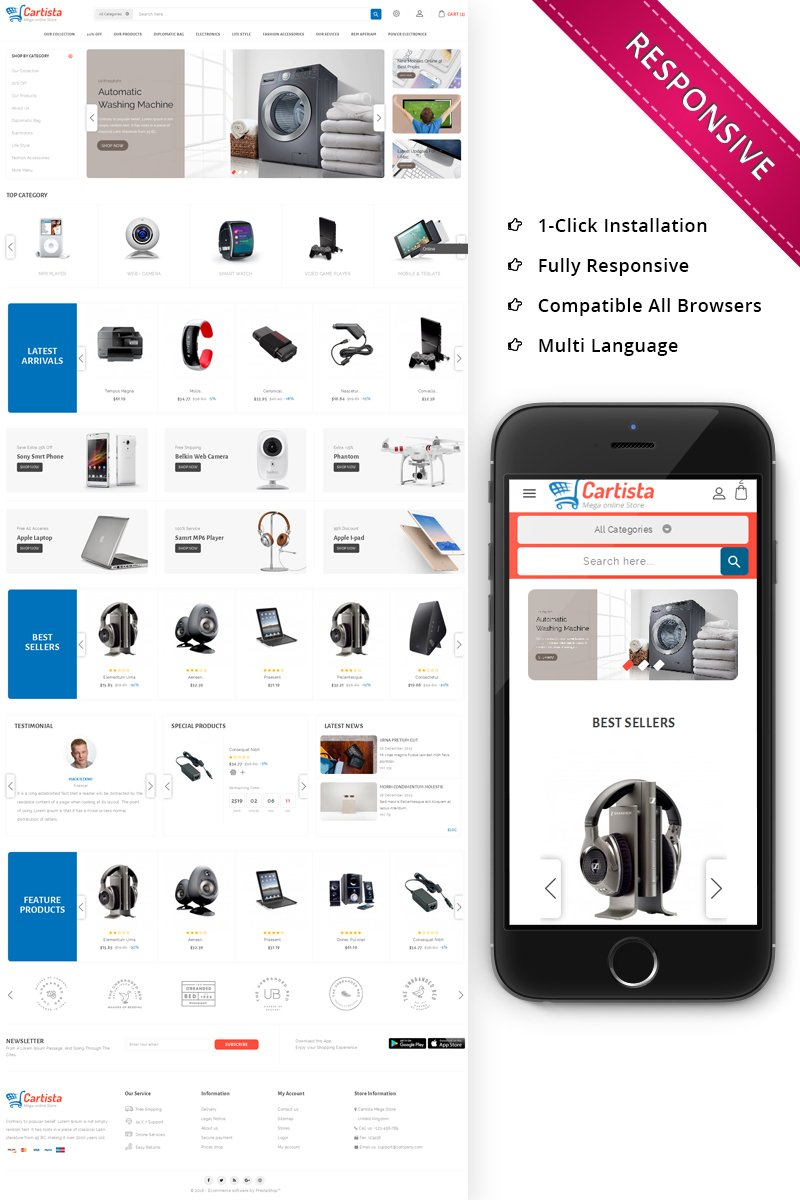 Cartista Mega Store PrestaShop Theme