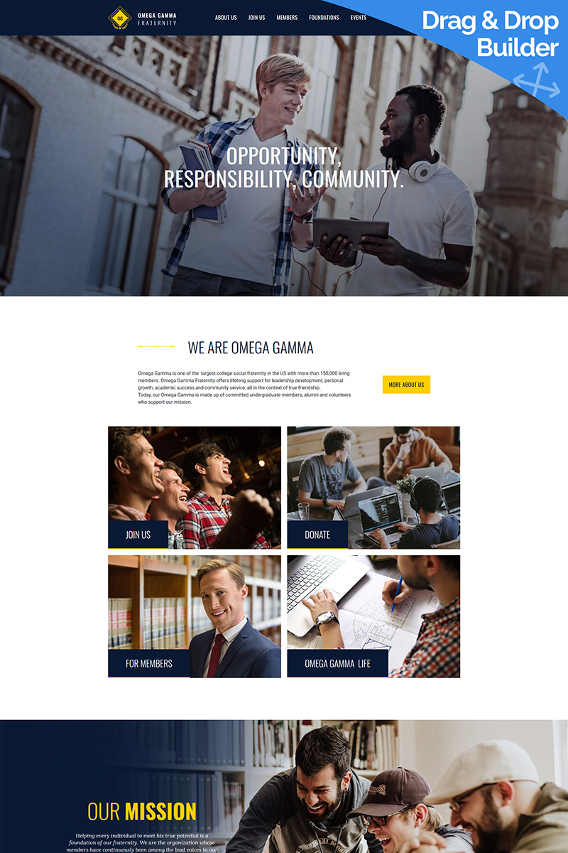 """""""College Fraternity"""" Responsive Moto CMS 3 Template №68214 - screenshot"""