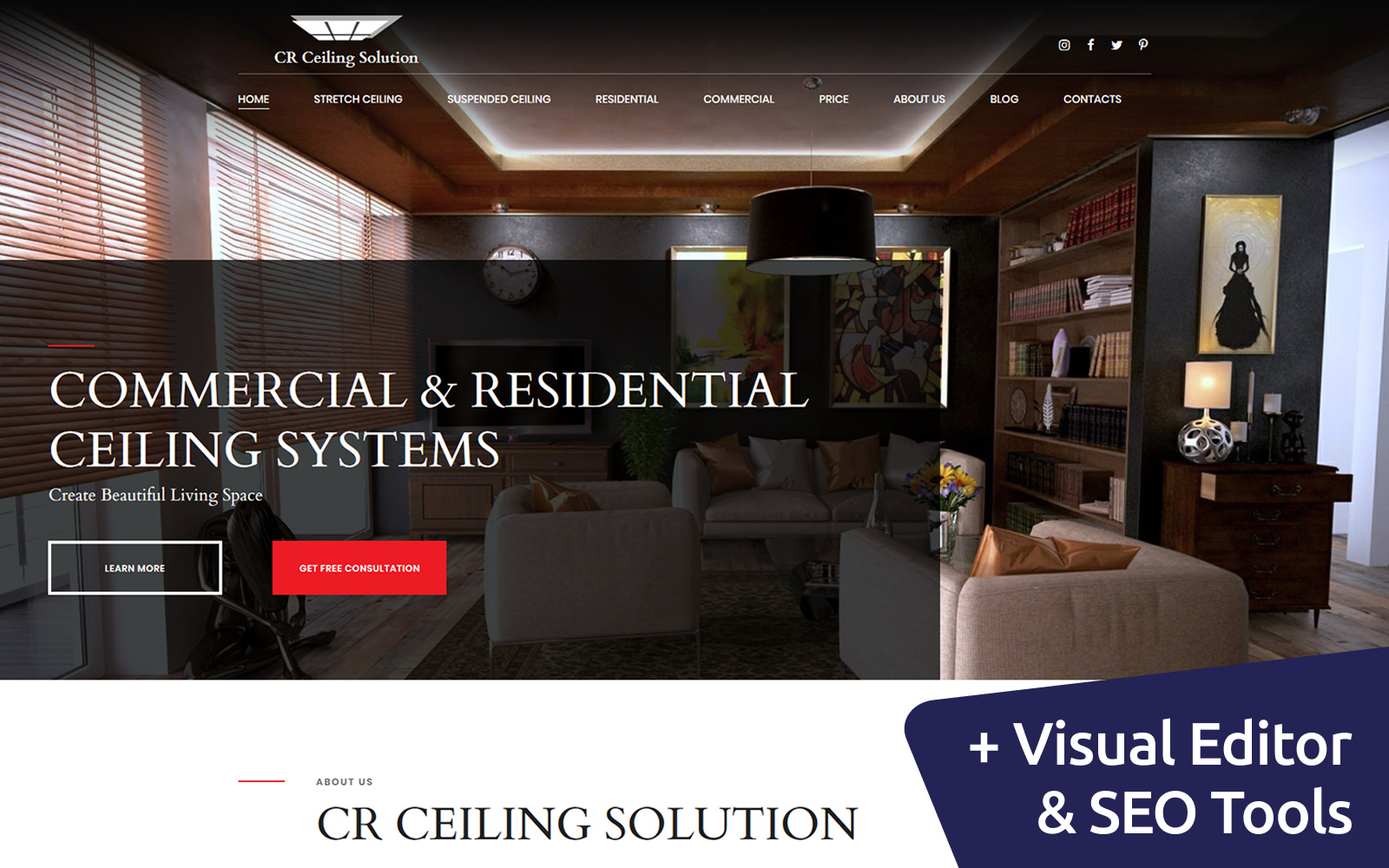 """CR - Ceiling Solution"" 响应式Moto CMS 3 模板 #68216"