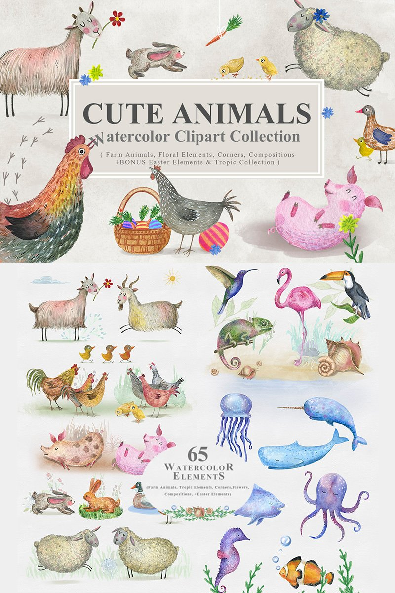 Cute Animals -  Watercolor Collection Illustration #68282