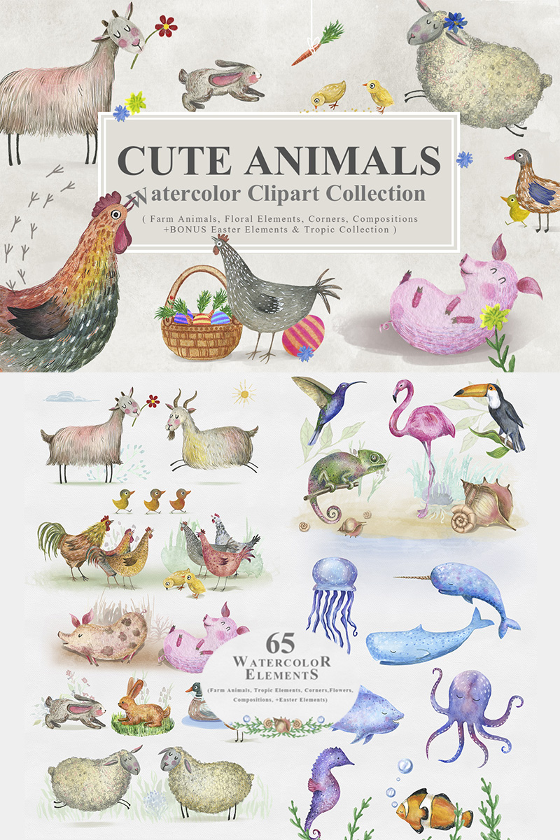 Cute Animals -  Watercolor Collection Illustration