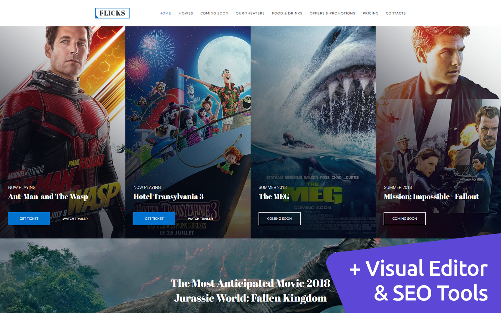 Flicks - Cinema Premium Moto CMS 3 Template