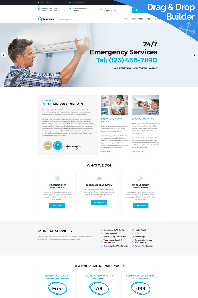"""""""Forceair - Air Conditioning"""" Responsive Moto CMS 3 Template №68242"""