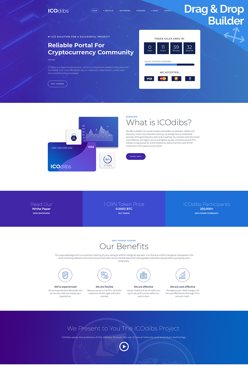 """ICOdibs - Cryptocurrency Premium"" Responsive Moto CMS 3 Template №68208"