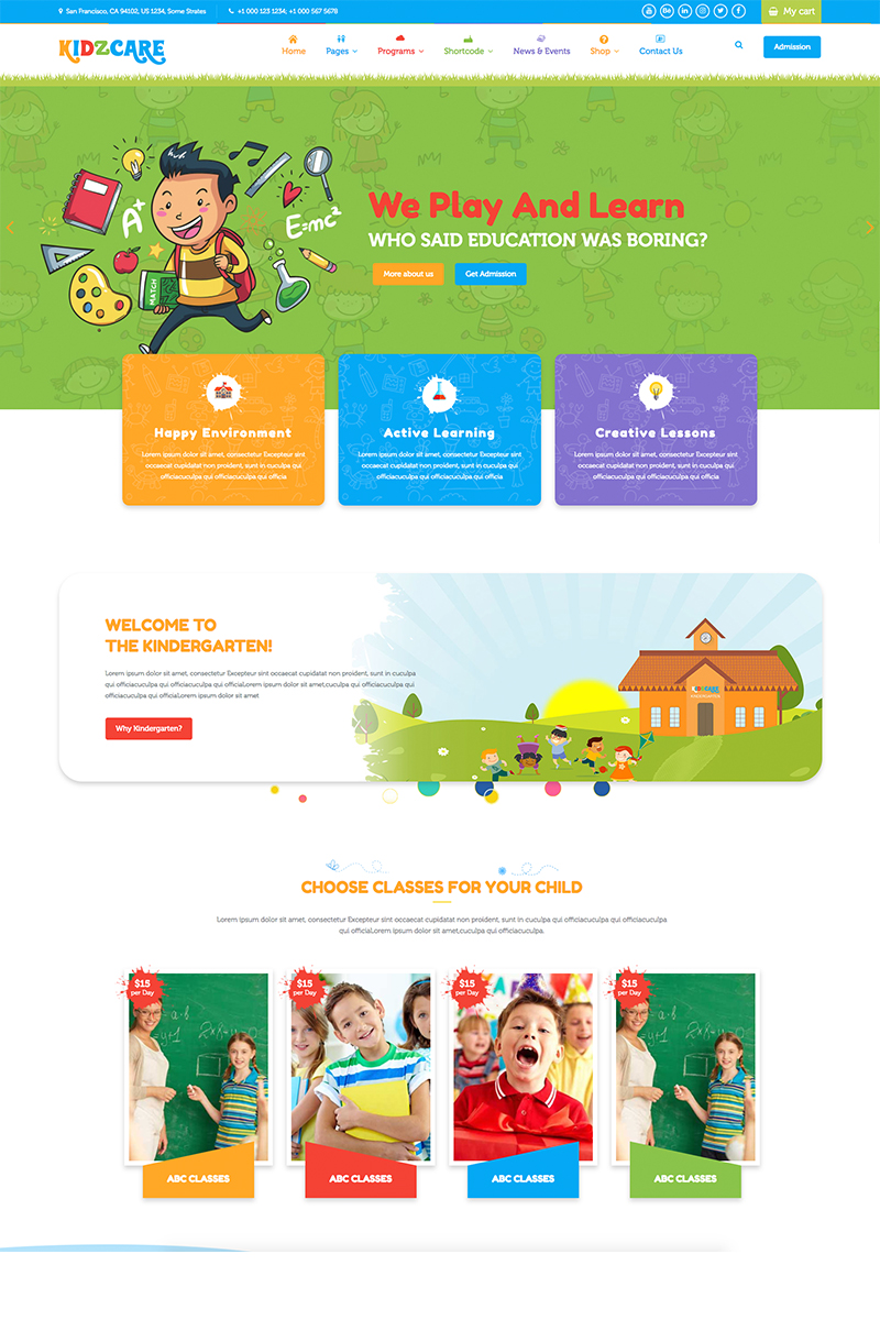 """KIDZCARE - Children Day Care Academic Multipurpose Responsive HTML5"" Bootstrap Website template №68289"