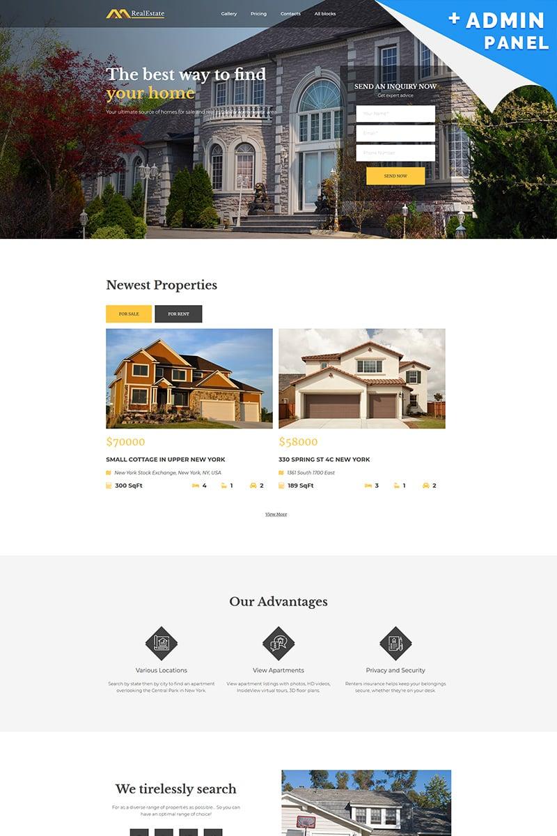 "Landing Page Template namens ""Real Estate MotoCMS 3"" #68221"