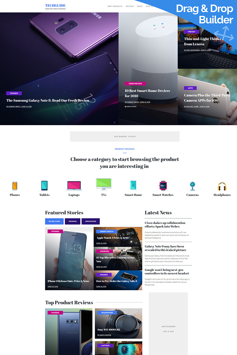 """Latest Tech News & Reviews"" 响应式Moto CMS 3 模板 #68213"