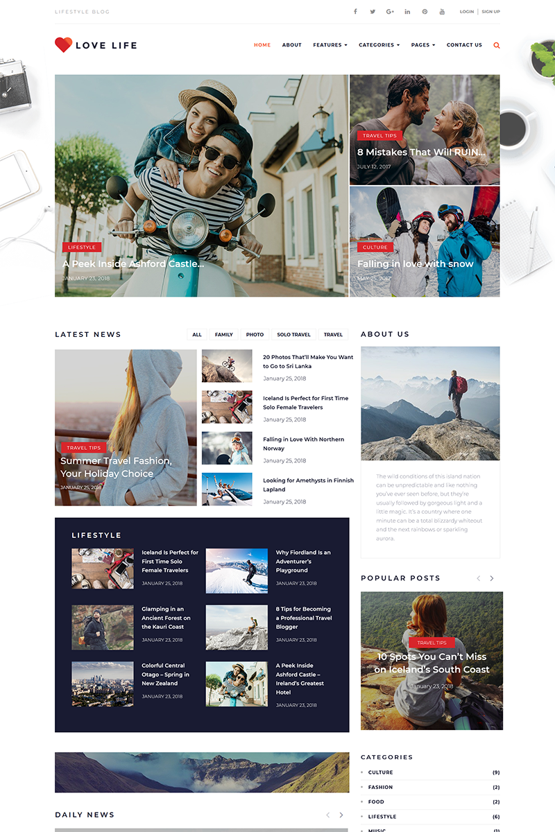 """Love Life - Responsive Personal Blog"" Responsive WordPress thema №68261"