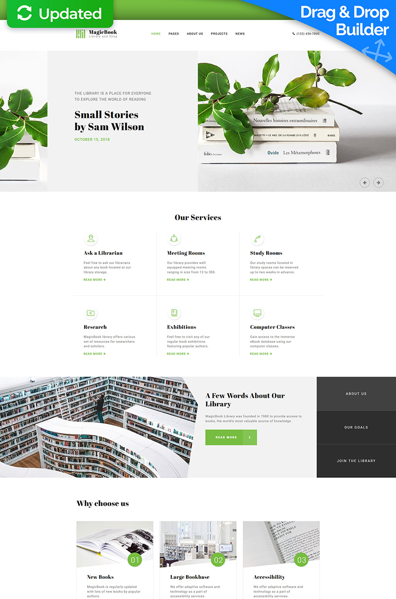 """""""MagicBook - Library & Shop"""" Responsive Moto CMS 3 Template №68256"""