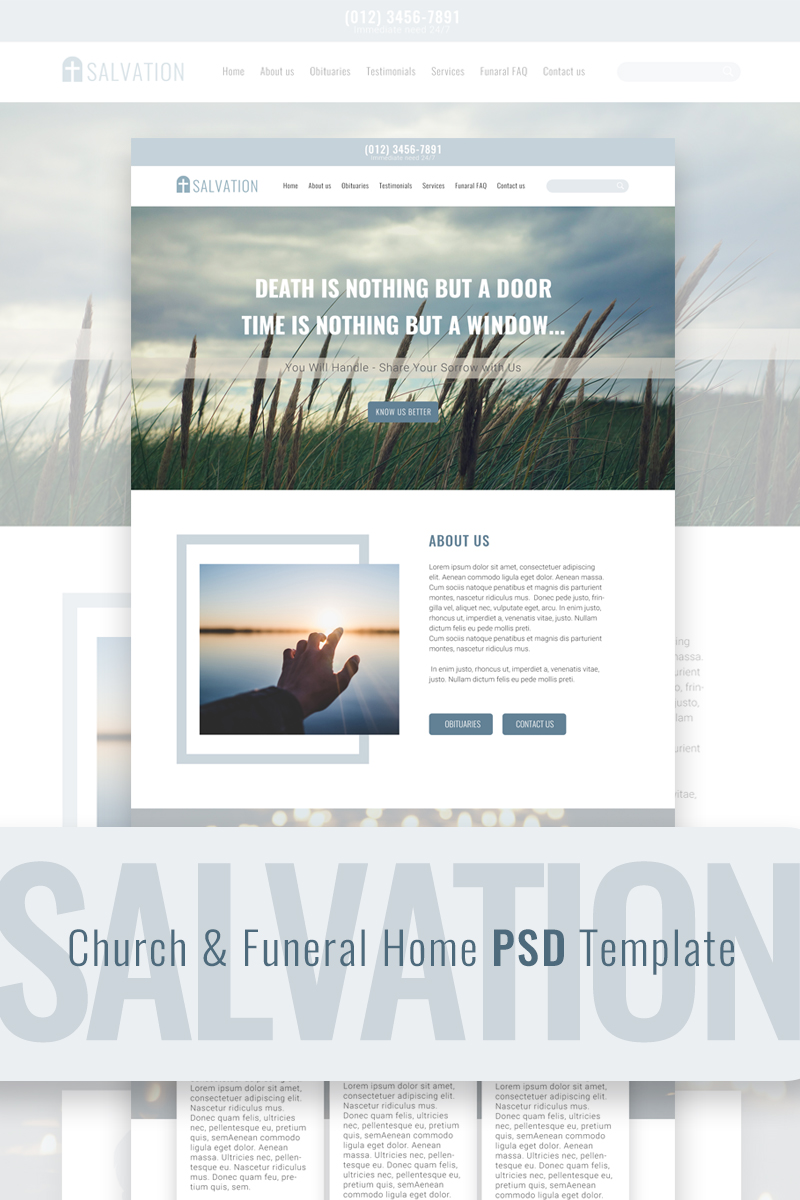 """Modello PSD #68258 """"Salvation - Church & Funeral Home Landing Page"""""""