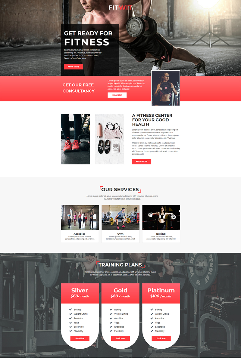 "Modello Unbounce Responsive #68273 ""FitWit - Gym"""