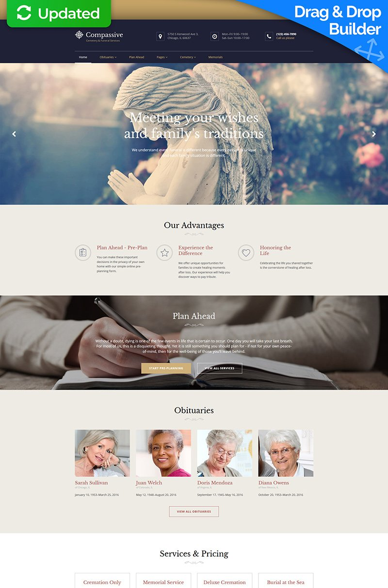 """Moto CMS 3 Template namens """"Compassive - Cemetery & Funeral Services"""" #68254"""