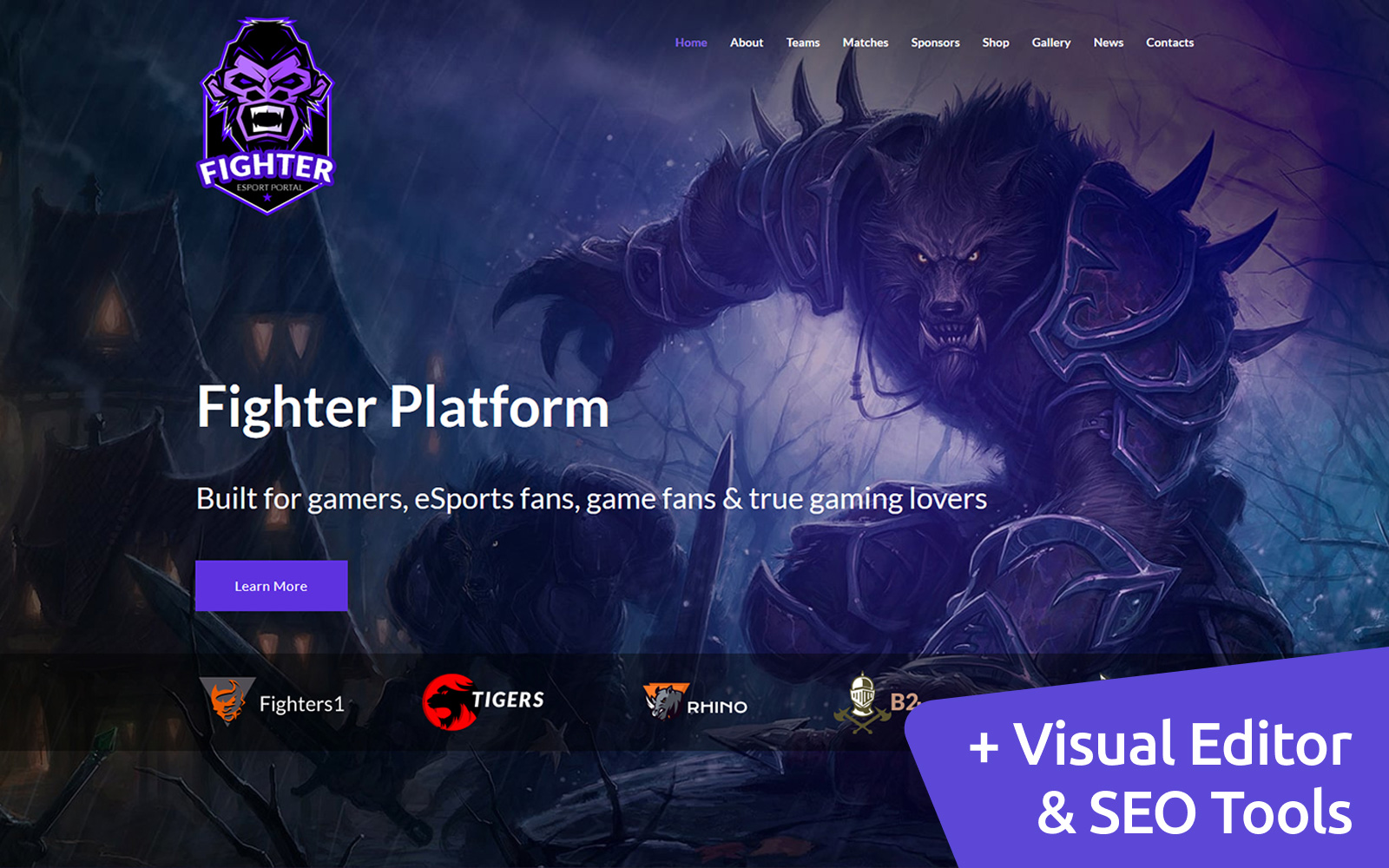 """Online Gaming Tournaments"" modèle Moto CMS 3 adaptatif #68215"
