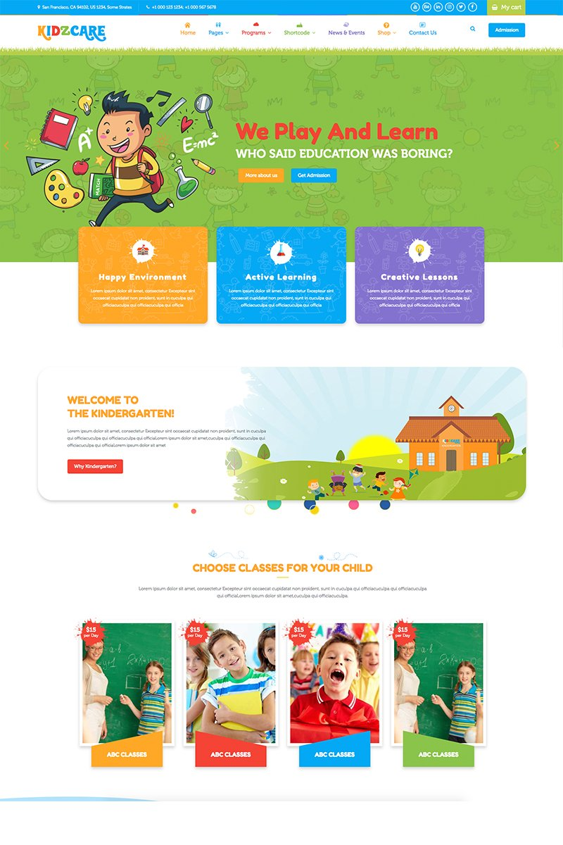 "Plantilla Web ""KIDZCARE - Children Day Care Academic Multipurpose Responsive HTML5"" #68289"