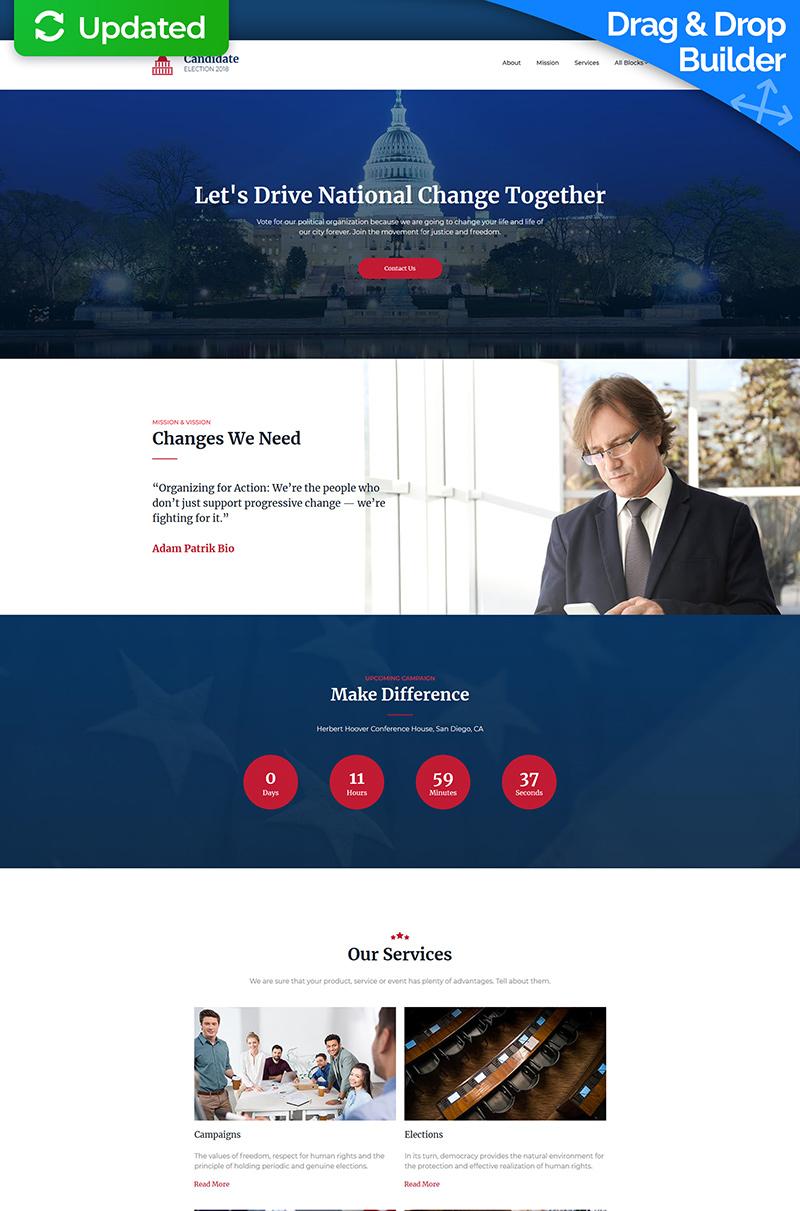 Political Campaign MotoCMS 3 Templates de Landing Page №68219