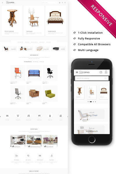 "PrestaShop Theme namens ""Decopas - The Furniture Store"" #68288"
