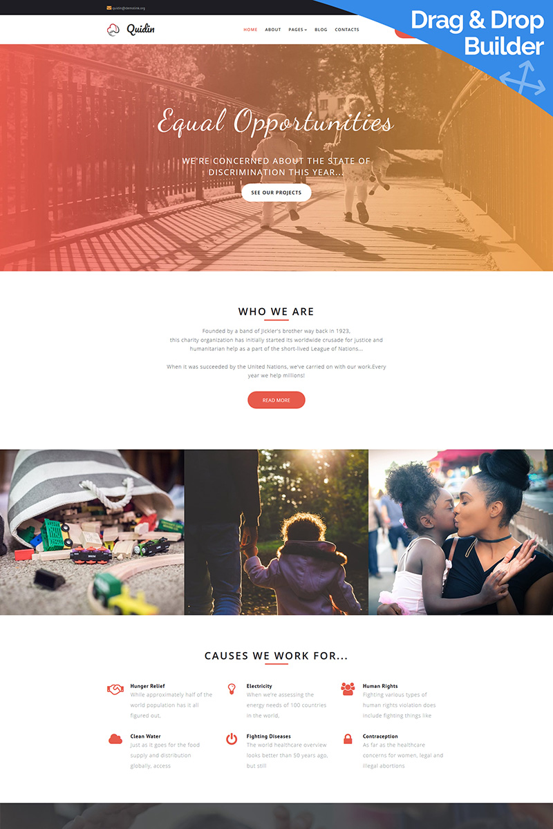 Quidin - Charity Fully Moto CMS 3 Template - screenshot