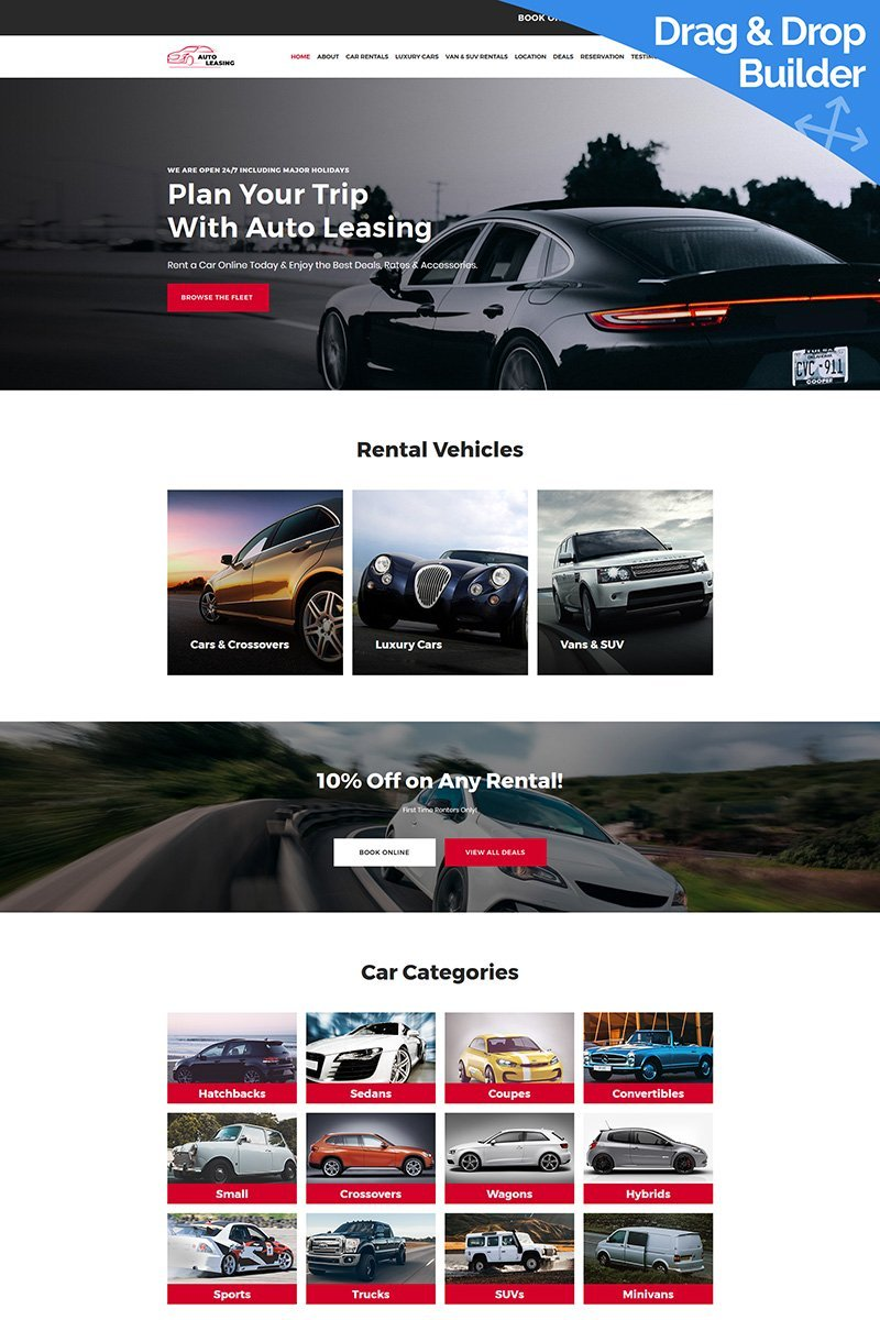 Responsive Auto Leasing - Car Rental Moto Cms 3 #68211