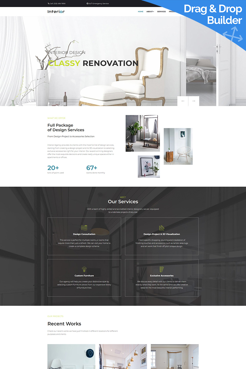 Responsive Interior Design Company Moto Cms 3 #68251