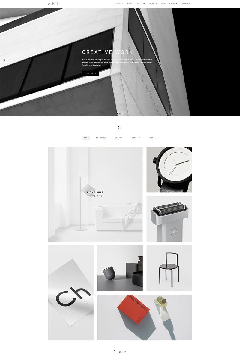 Responsivt Art - Minimal Portfolio & Photography WordPress-tema #68265