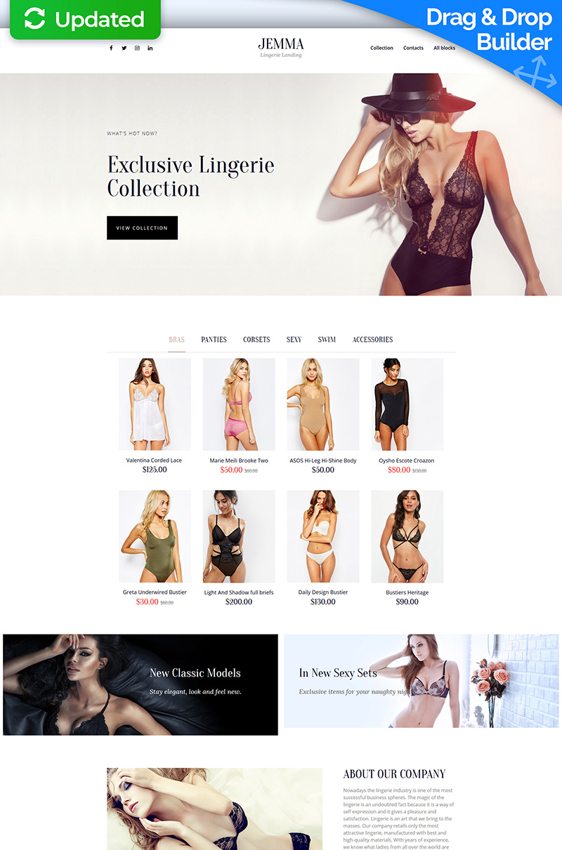 Responsivt Jemma - Womens Lingerie Landing Page-mall #68223