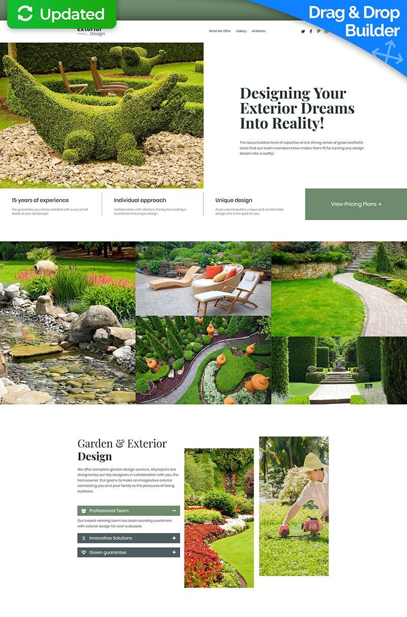 Responsivt Landscape Design MotoCMS 3 Landing Page-mall #68226