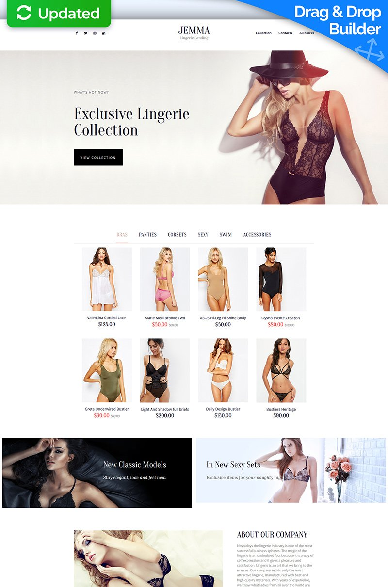 Responsywny szablon Landing Page Jemma - Womens Lingerie #68223 - zrzut ekranu
