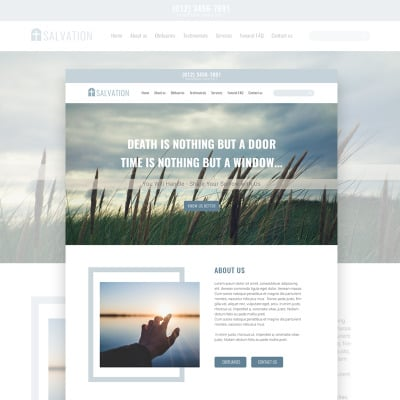 Salvation - Church & Funeral Home Landing Page PSD Template #68258