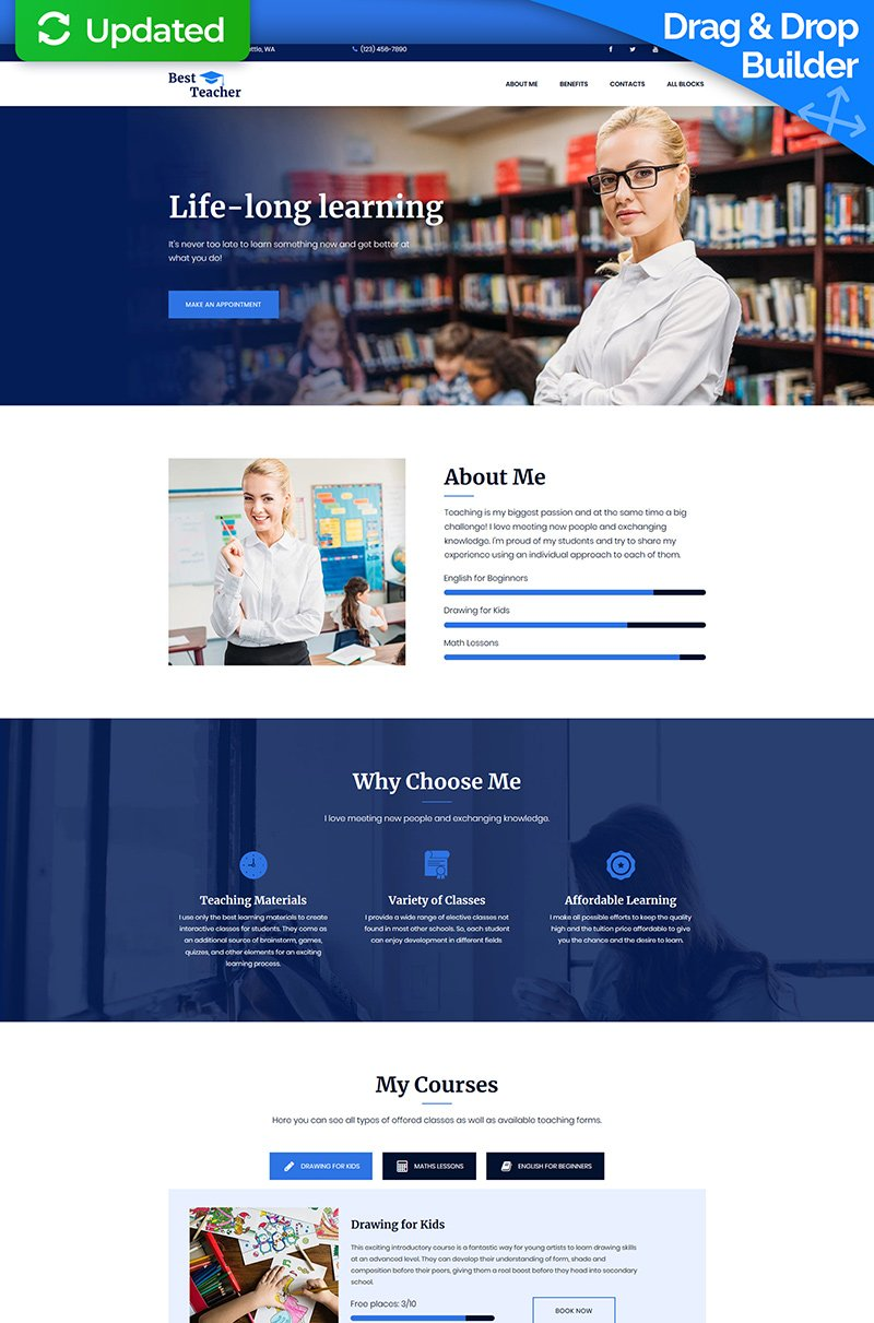 "Template di Landing Page Responsive #68227 ""Best Teacher - Education MotoCMS 3"""