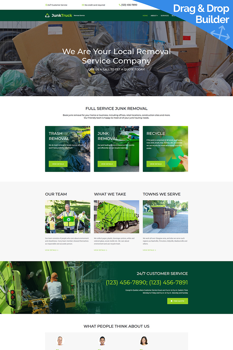 """Template Moto CMS 3 Responsive #68257 """"JunkTruck - Garbage Removal Service Company"""""""