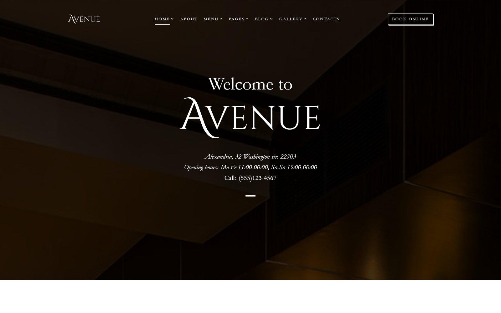 "Template Siti Web Responsive #68272 ""Avenue - Restaurant Responsive Multipage HTML"""
