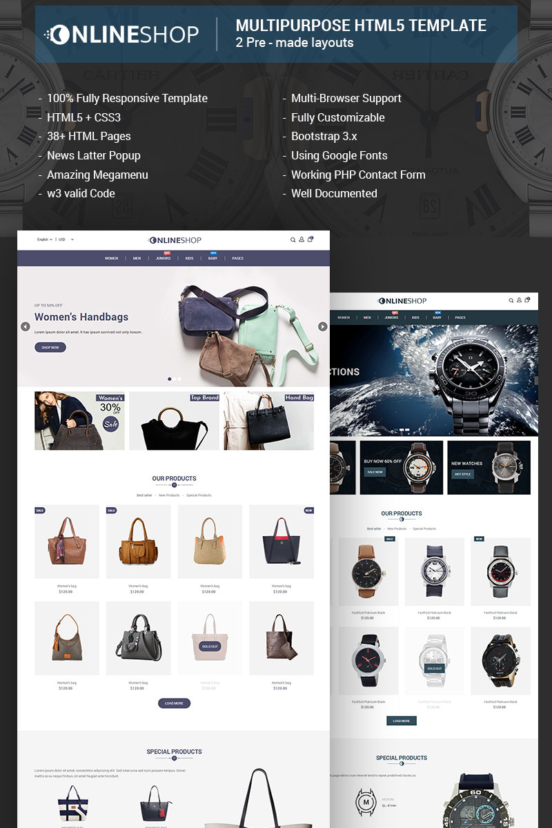 "Website Vorlage namens ""Onlineshop - Responsive Multipurpose E-Commerce HTML5"" #68267 - Screenshot"