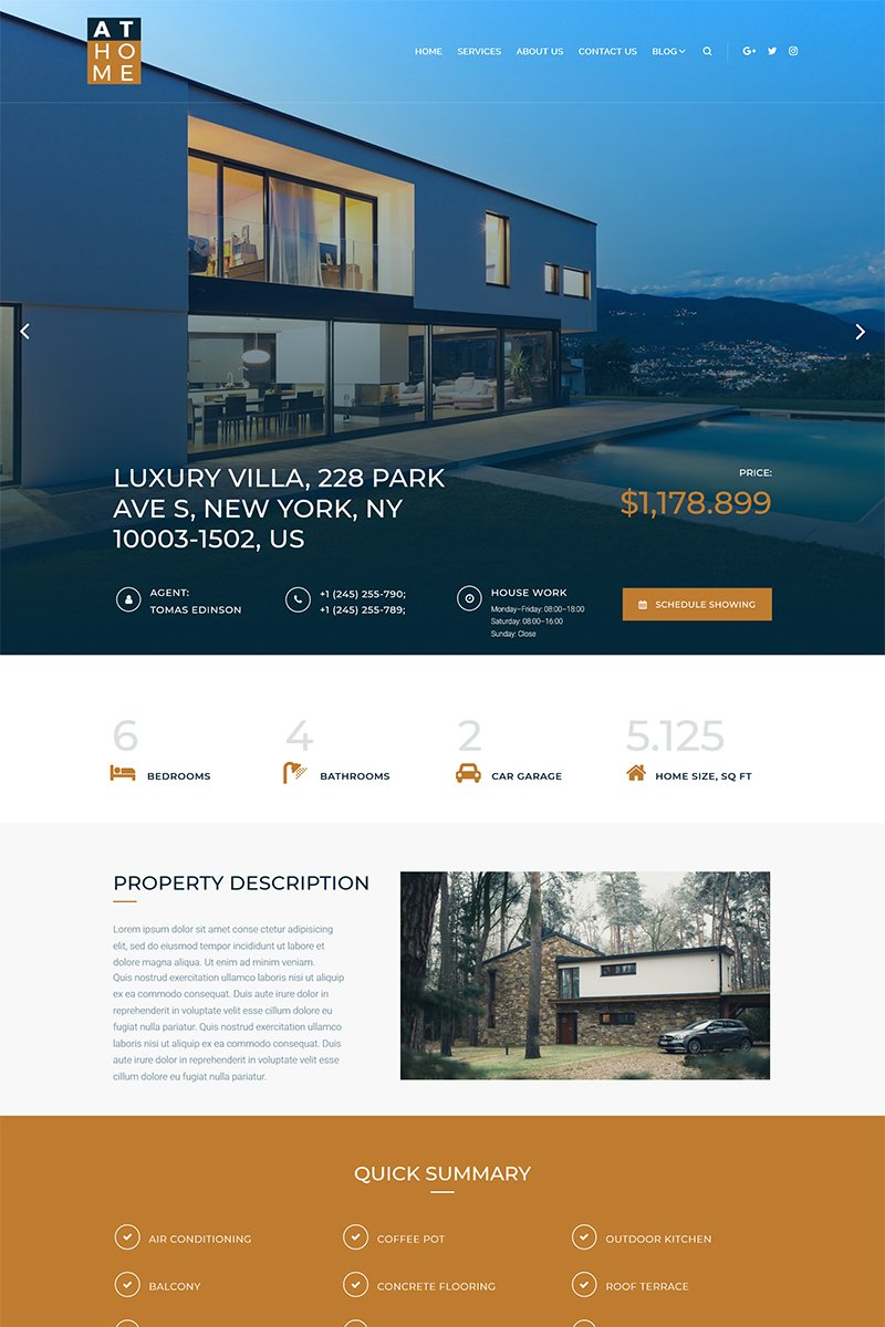 At Home - Real Estate Elementor WordPress Theme - screenshot