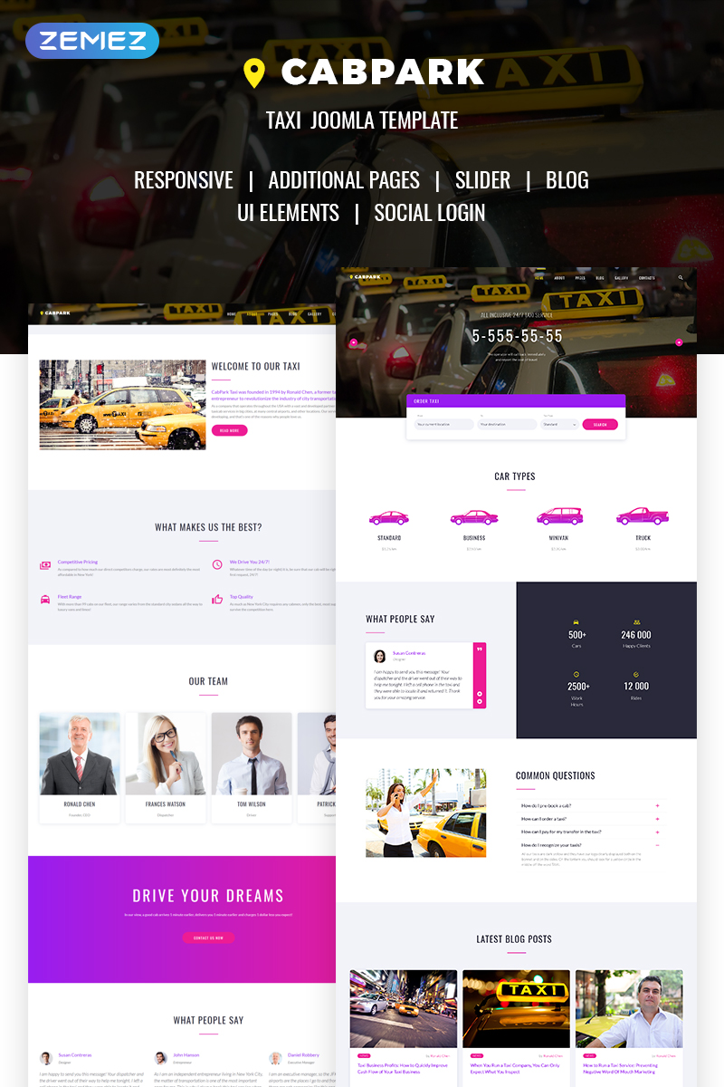 Cabpark - Fancy Taxi Service Joomla Template - screenshot